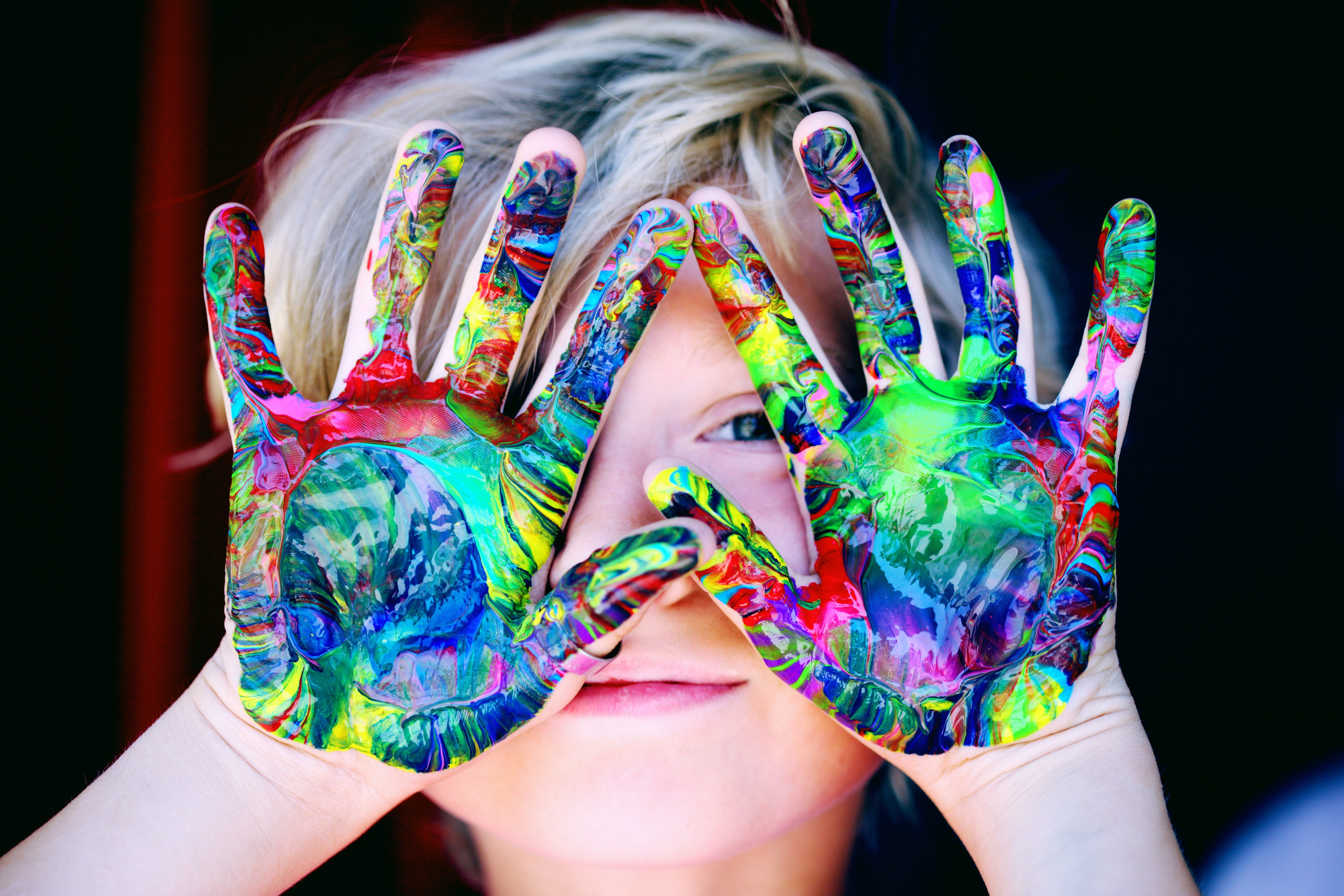 Kid With Colored Hands